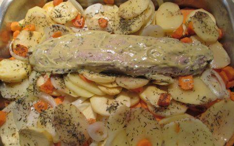 porc e la moutarde et légumes dhivers